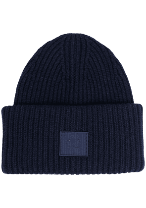Acne Studios face-patch knitted beanie - Blue