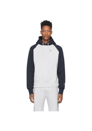 Champion Reverse Weave Grey and Navy Bicolor Script Hoodie