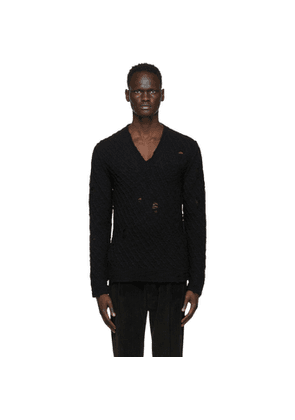 Dolce and Gabbana Black Wool Distressed Sweater
