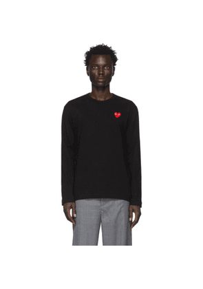 Comme des Garcons Play Black and Red Heart Patch Long Sleeve T-Shirt