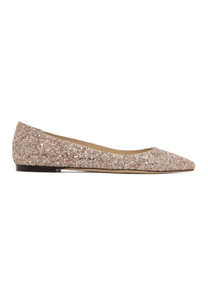 Jimmy Choo SSENSE Exclusive Pink and Gold Coarse Glitter Romy Flats