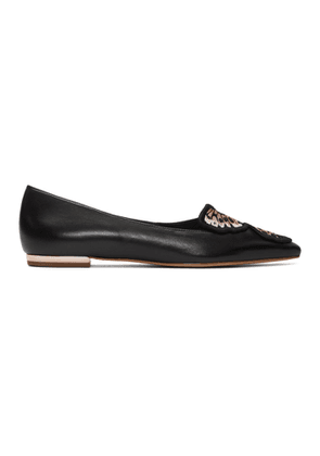 Sophia Webster Black Butterfly Embroidery Ballerina Flats