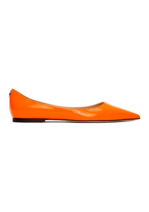Jimmy Choo Orange Patent Love Flats
