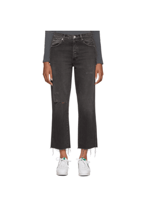 Amo Black Loverboy Relaxed Crop Straight Denim