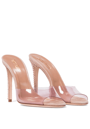 Embellished suede and PVC sandals