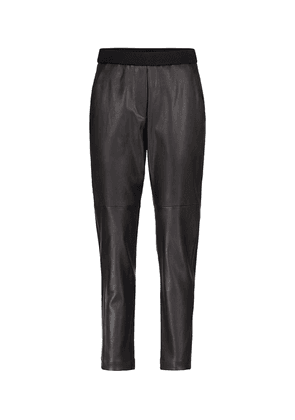 Mid-rise tapered leather pants