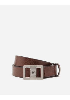 Dolce & Gabbana Accessories - TUMBLED LEATHER BELT WITH LOGO BUCKLE BROWN male 85