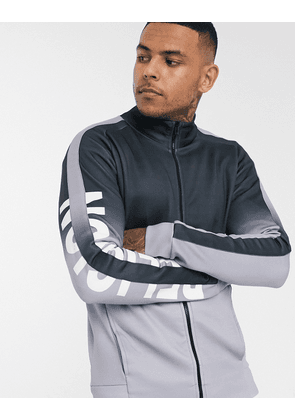 Religion track jacket with sleeve logo in grey fade-Black