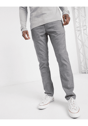 Selected Homme slim fit super stretch check smart trousers in grey