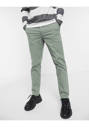 Selected Homme organic cotton straight fit chino trousers in light green