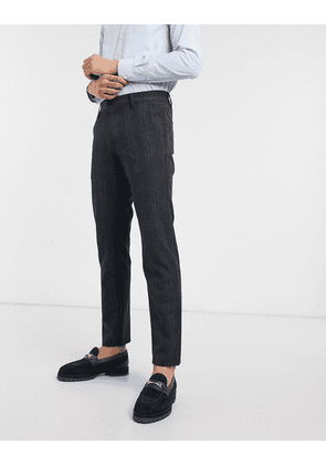 Selected Homme slim fit stretch smart checked trousers in navy