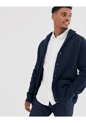 Abercrombie & Fitch shawl collar knit cardigan in navy