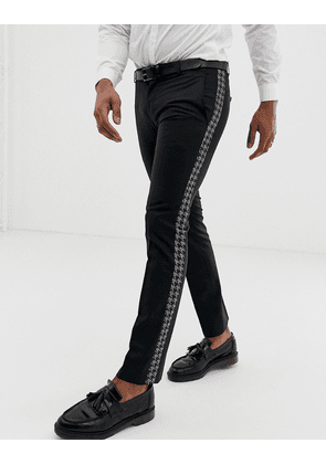 Twisted Tailor super skinny trouser with dogstooth side stripe-Black