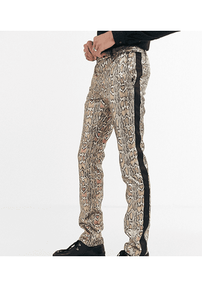 Twisted Tailor Tall super skinny trousers in metallic leopard print-Gold