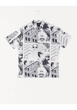 Selected Homme graphic print shirt in relaxed fit-White