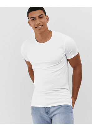 Selected Homme muscle fit lounge t-shirt in white