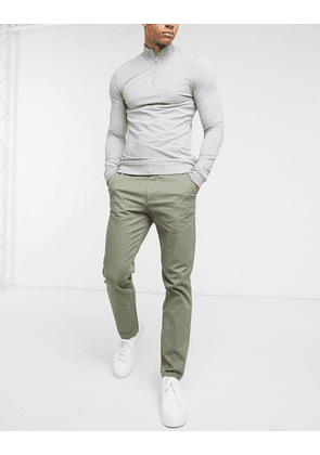Selected Homme yard twill slim fit trousers-Green