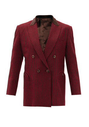 Blazé Milano - Fair & Square Double-breasted Checked Wool Blazer - Womens - Black Red