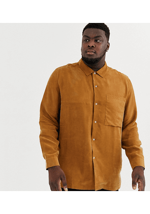 ASOS WHITE Plus regular fit shirt in camel-Brown