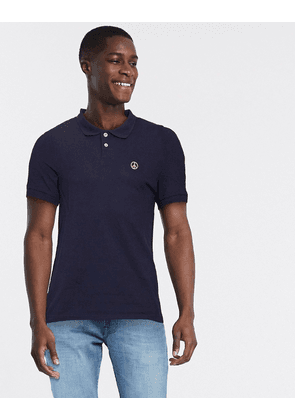 Love Moschino peace plaque polo shirt-Blue
