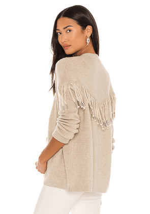 One Grey Day Dundas Fringe Cardigan in Beige. Size S, M, L.