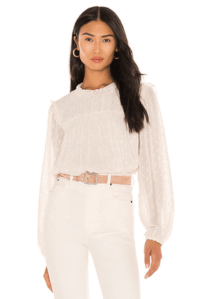 Sanctuary Grunge Girl Smocked Blouse in Cream. Size L, M, S.