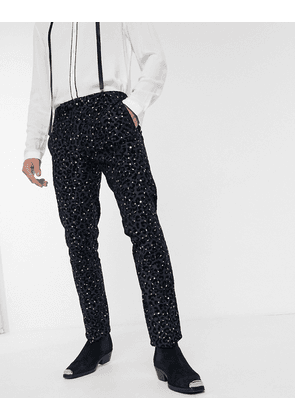 Twisted Tailor trousers with leopard flock in navy