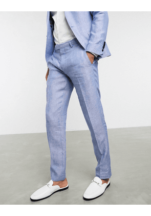 Twisted Tailor slim linen suit trousers in light blue