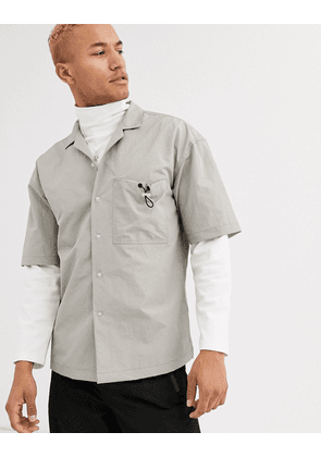 ASOS WHITE boxy shirt with toggle pocket detail-Grey