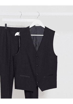 Selected Homme black wool slim fit tuxedo suit waistcoat