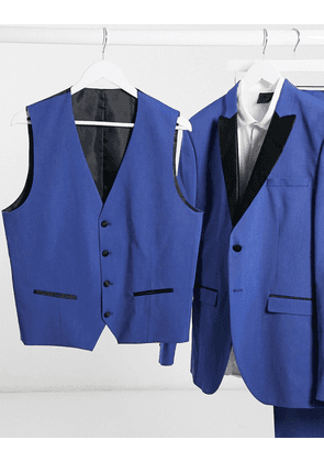 Selected Homme blue skinny fit tuxedo double breasted waistcoat