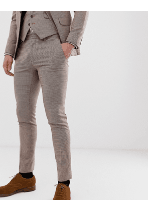 Burton Menswear wedding super skinny suit trousers in black and red dogtooth
