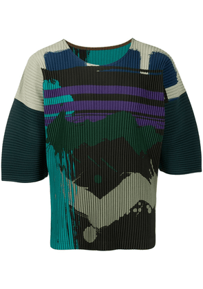 Homme Plissé Issey Miyake pleated abstract-print T-shirt - Green