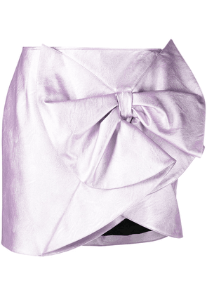 Gina bow-detail faux-leather skirt - Purple