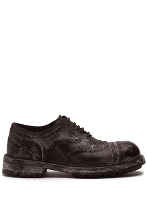 Dolce & Gabbana vintage-look leather brogues - Brown