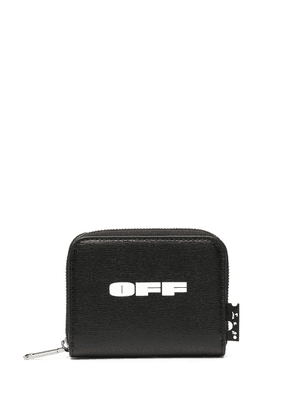 Off-White small logo print zip-around purse - Black