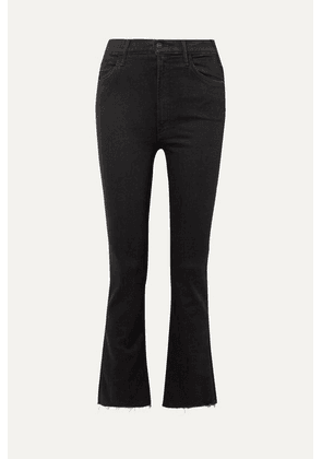 Mother - The Hustler Cropped Frayed High-rise Flared Jeans - Black