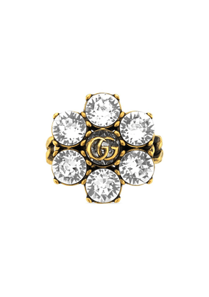Gucci crystal-embellished Double G ring - GOLD