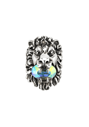 Gucci crystal -embellished lion head ring - Silver