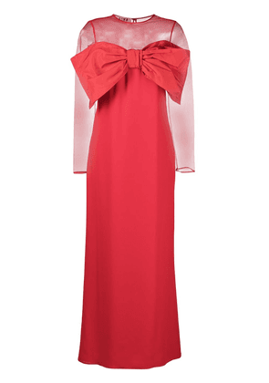 Gina oversized-bow sheer-top evening dress - Red