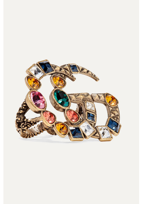 Gucci - Gold-tone Crystal Two-finger Ring