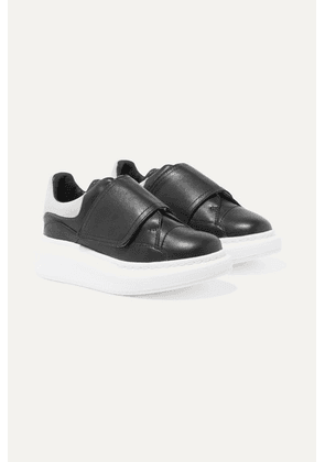 Alexander McQueen Kids - Suede-trimmed Leather Exaggerated Sole Sneakers - Black