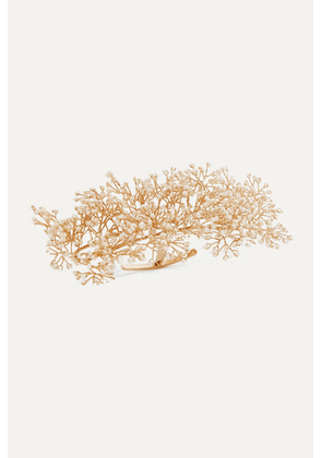 14 / Quatorze - Baby's Breath Gold-plated Pearl Ring Cuff