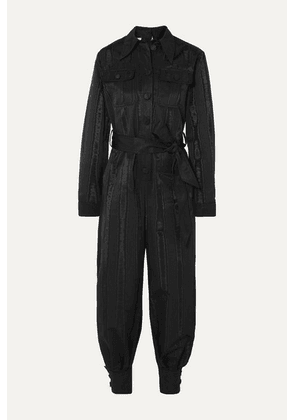 Gucci - Belted Moire Jumpsuit - Black