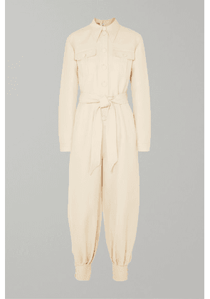 Gucci - Belted Wool And Silk-blend Cady Jumpsuit - Ivory