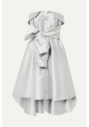 Alexis Mabille - Bow-detailed Satin-twill Mini Dress - Platinum