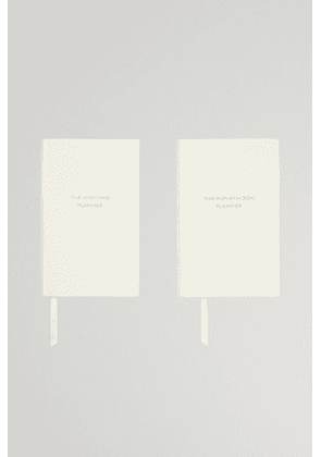 Smythson - Set Of Two Panama Wedding And Honeymoon Planner Textured-leather Notebooks - White