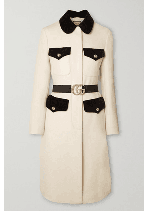 Gucci - Belted Velvet-trimmed Wool Coat - Ivory