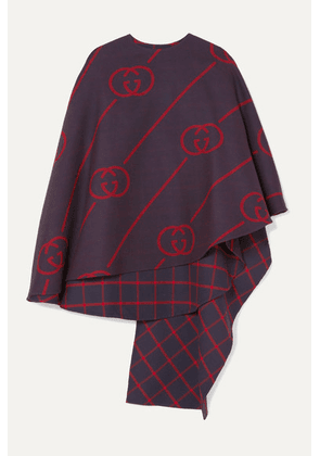 Gucci - Reversible Wool And Silk-blend Cape - Navy