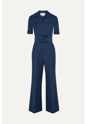 Gucci - Belted Wool And Silk-blend Cady Jumpsuit - Navy